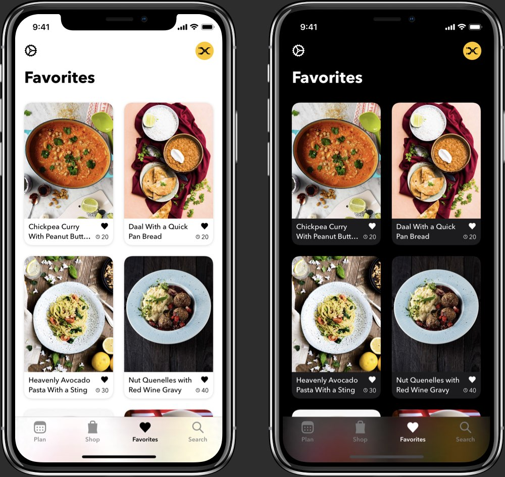 Plantry recipe view in light and dark mode